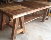 Reclaimed Wood Kitchen Table with Trestle Legs - BindleStickFurniture