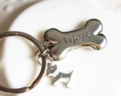 Pet Lovers Memorial Keychain Personalized Dog Bone Custom Name Gift for Dog Lover