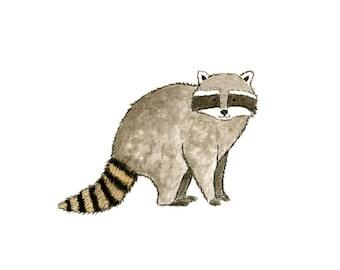 Raccoon Watercolor Painting - 5 x 7 - Kids Wall Art - Woodland Nursery
