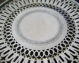 Antique Pierced Sterling Silver Salver Roger Williams Footed Dish