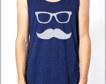 Mustache Wayfarer Tank Top Mens' Women's Unisex American Apparel Tank Top