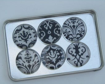 Damask Magnets, Magnet Set of Six with Storage Tin