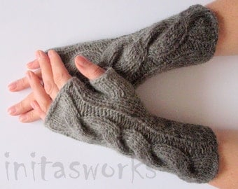 Fingerless Gloves Mittens wrist warmers Gray Dove Black