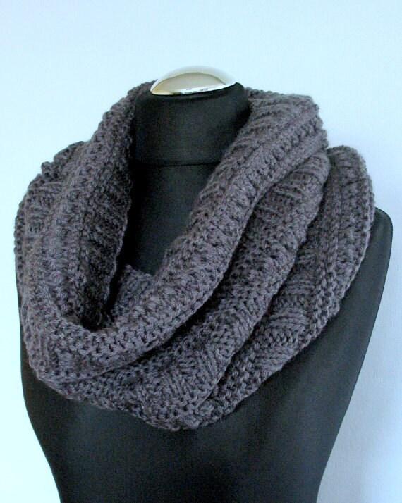Infinity Scarf Cowl Wrap Dark Gray Hand knit, Wool, Alpaca