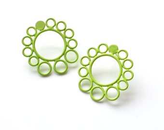 SALE 50 PERCENT OFF, neon green powdercoated circle earrings, simple stud earrings in a modern style, surgical steel hypoallergenic posts