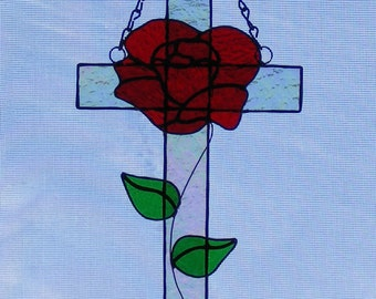 Stained Glass Cross - 10 in. tall - Red Rose