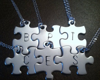 Personalized puzzle piece necklace, set of 7, bridesmaids gifts,
