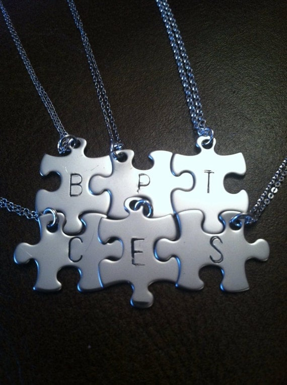 personalized puzzle piece necklace set of 6 bridesmaids