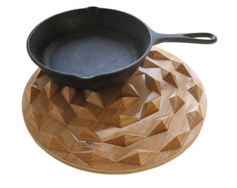 Spiral wood hot pad.  Round wooden trivet with wood spirals.  Woodwork centerpiece