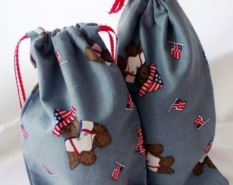 2 Fabric Gift Bags Patriotic Teddy Bears Upcycled Reusable 6 X 10
