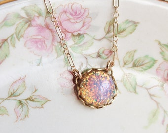 Fire Opal Necklace, ADULT/ TEEN Size,14K Gold Filled,Vintage Glass Opal,Colorful,Birthstone Jewlery,Shabby Chic,Petite,Understated,Heirloom