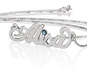 Personalized Name Necklace 925 Sterling Silver with Birthstone- Carrie Style Choose Any Name