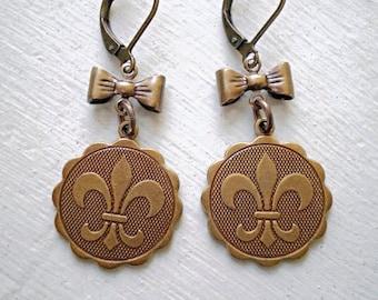 Fleur De Lis Earrings/Coin Earrings/Fleur De Lis/Fleur De Lis Jewelry/French Earrings/Bow Earrings