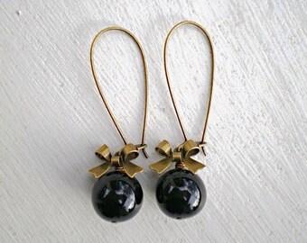 Jet Black Bow Earrings/Black earrings/Bow earrings/Bridesmaid Earrings/Rustic Wedding Earrings