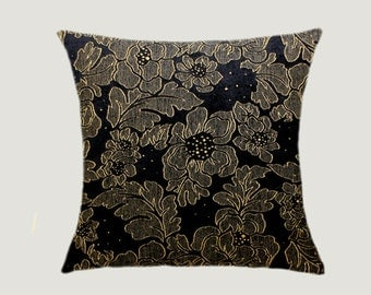 "Decorative Pillow Case, Black Textured fabric with Yellow Flowers Throw pillow case, fits 18"" x 18"" insert, Toss pillow case, Cushion case."