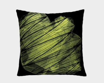 "Decorative Pillow case, Abstract design Throw pillow cover, Black, Yellow colors, fits 18""x18"" insert, Toss pillow case, Cushion case"