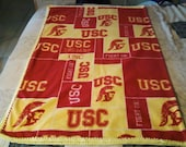 USC Fleece Blanket with crochet edging