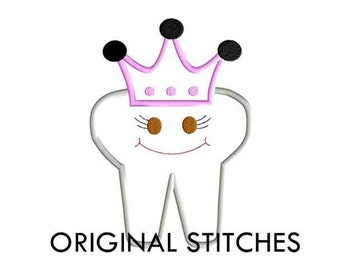 Princess Tooth Applique and Machine Embroidery Digital Design File 4x4 5x7 6x10