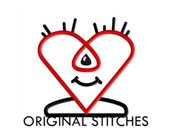 Heart Monster Applique and Machine Embroidery Digital Design File 4x4 5x7 6x10 7x11