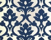"One Custom LINED  Valance 52"" x 17""  -   Indoor/Outdoor  -  Navy Blue/Ivory Floral"