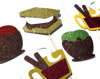 Fall Favorites Collection - Set of 5 Photo Booth Props with GLITTER - Autumn Treats Photo Booth Props - Limited Edition