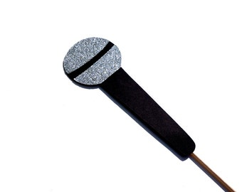 Photo Booth Props - Silver GLITTER Microphone Photobooth Prop