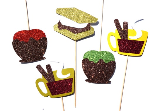 Autumn Treats Photo Booth Props - Fall Favorites Collection - Set of 5 Photo Booth Props with GLITTER- Limited Edition