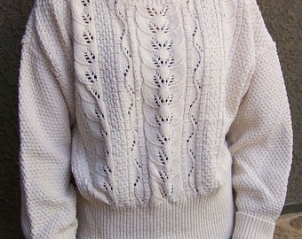 Vintage cotton sweater British Vogue ecru pull-over hand knit 1960s 1970s