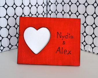Valentine photo frame engraved with names perfect gift for him or her!