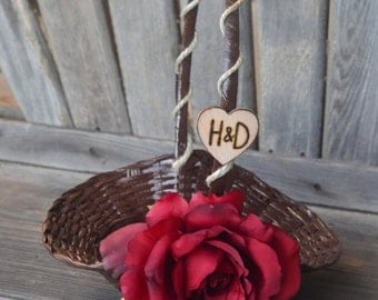 Small Flower girl basket with hemp featuring red rose over 60 flowers to select from