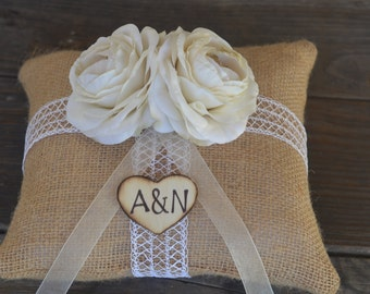Custom Shabby Chic Vintage inspired Ivory Ranunculus Burlap Ring Bearer Pillow personalized with bride in groom initials in wood heart