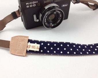 DSLR Camera strap---dots---navy blue
