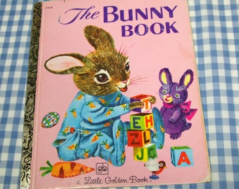 the bunny book, vintage 1980 children's little golden book