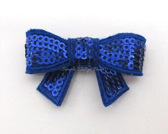 """Sequin Bow - Royal Blue Bow - 2"""" Small Hair Clip - Royal Blue Baby Bow - Small Hair Bow - Royal Blue Hair Bow - Sparkle Bow - Bitty Bow"""