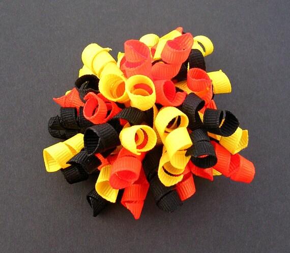 Halloween Hair Bow - Orange, Black, Yellow - Small Korker Bow