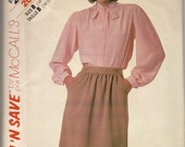 1985 sewing pattern McCall's 2062 misses blouse and skirt size 14-16-18 bust 36-40