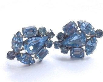 Blue Rhinestone Bridal Earrings Retro Wedding Party Jewelry