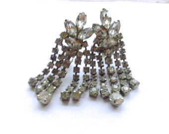 Art Deco Rhinestone Earrings Bridal Jewelry Fashion Mad Men Vintage Accessories