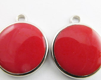 6 Vintage 23mm Red Pendants Charms Drops Pd261