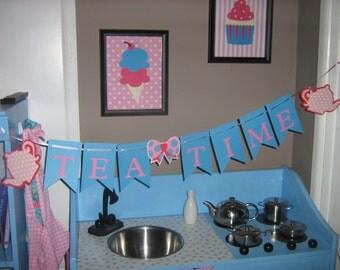Tea Party, tea time, Alice in Wonderland, birthday banner, shabby chic