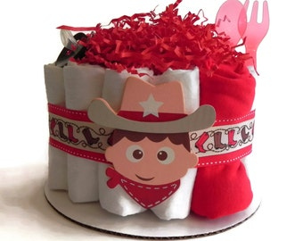 Cute Cowboy Diaper Cake - One Tier  Baby Shower gift or centerpiece cute unique boy red brown