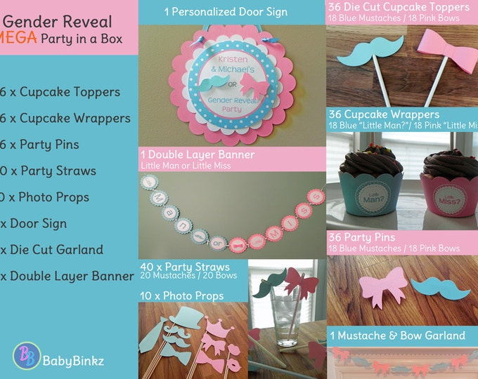 Gender Reveal MEGA SIZED Party in a Box - Little Man or Little Miss Party Decorations Package Set die cut bow mustache blue pink pin game