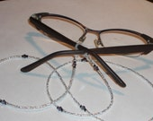 """Eyeglass Chain Silver Lined Clear Glass Seed Beaded with Swarovski Crystal Accents 30"""" Handmade in USA Light Strong"""