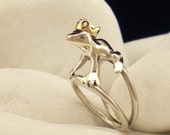 """Solid Sterling Silver and K14 Gold Ring - """"Kiss This Frog"""" - FREE Shipping"""