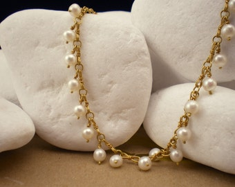 Handmade Solid 18K Gold Pearl Necklace