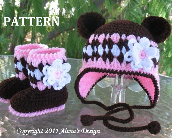 Crochet Baby Hat Bear Ears Pattern : Crochet PATTERN Set Bear Hat and Baby Booties Baby Girl