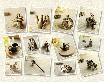 Alice In Wonderland Bronze Jewelry Planner Charms Set - 26 pieces - 90003