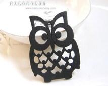 4 PCS - 36x50mm Pretty Black Lucky Owl Wooden Charm/Pendant MH105 01