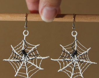 Machine Embroidered Glow in the Dark Spider Web with Spider Earrings