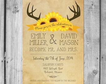 Deer Antlers and Sunflowers Wedding Invitation Set